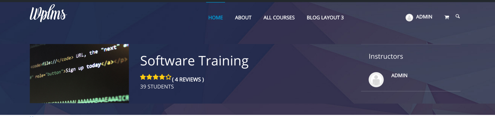 Header Showing Course