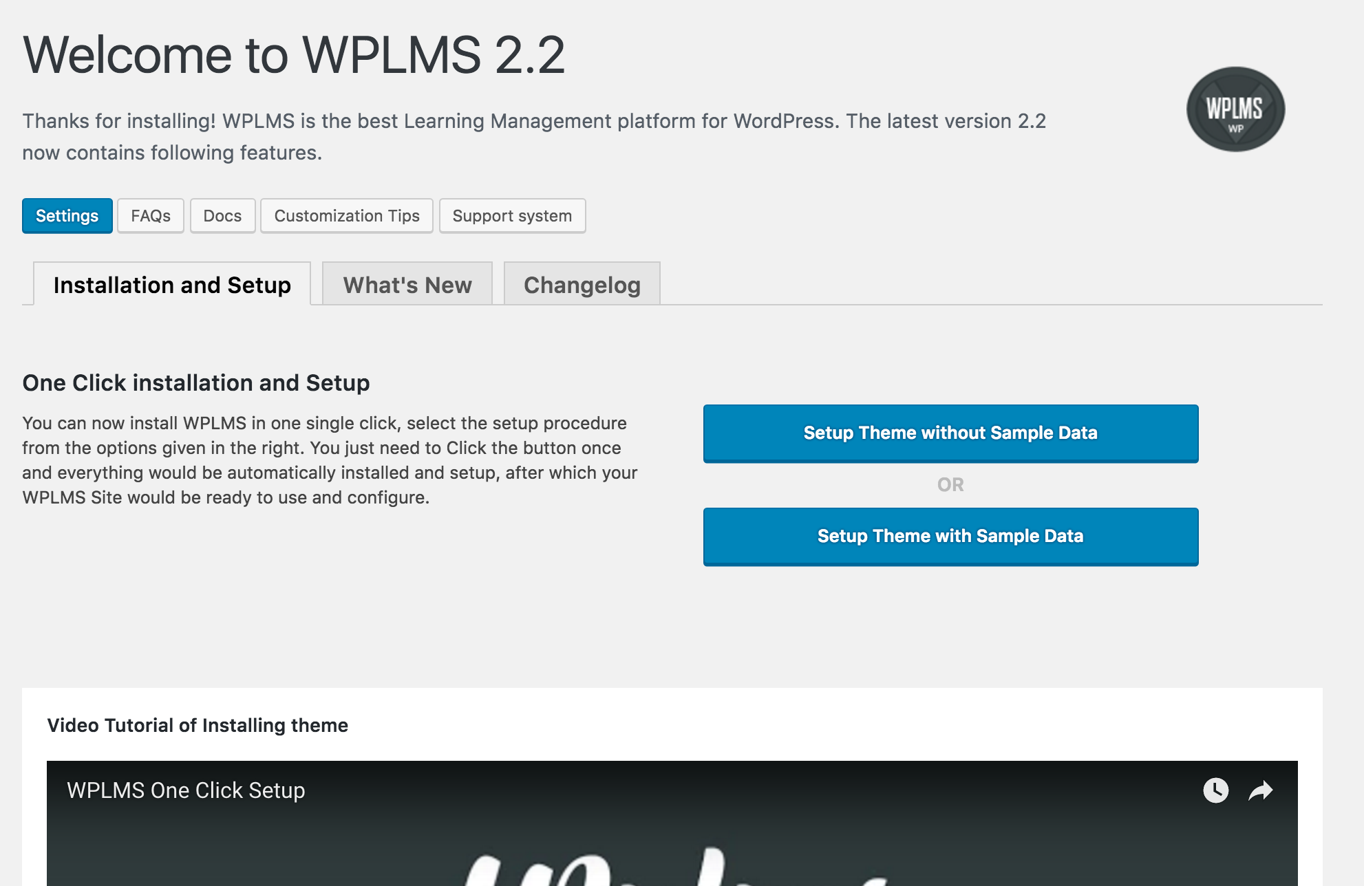 WPLMS Setup with Sample Data